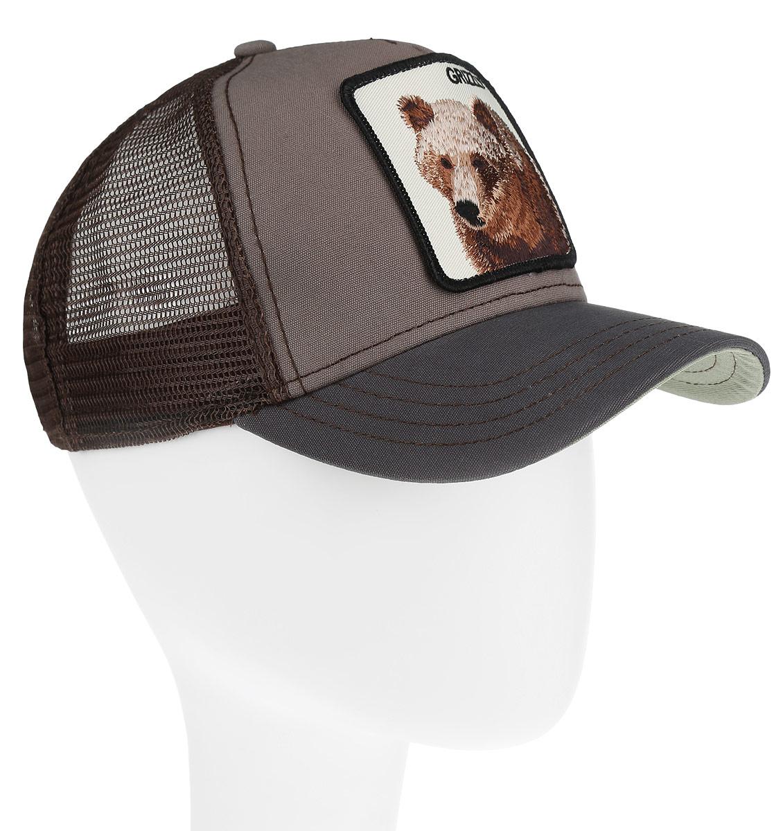 Бейсболка Goorin Brothers, цвет: серый, темно-коричневый. 91-062-03-00. Размер универсальный91-062-03-00Стильная бейсболка Goorin Brothers, выполненная из высококачественных материалов, идеально подойдет для прогулок, занятия спортом и отдыха. Она надежно защитит вас от солнца и ветра. Классическая кепка с сетчатой задней частью станет правильным выбором. Изделие оформлено нашивкой с изображением бурого медведя и надписью Grizzly. Объем бейсболки регулируется пластиковым фиксатором.Ничто не говорит о настоящем любителе путешествий больше, чем любимая кепка. Эта модель станет отличным аксессуаром и дополнит ваш повседневный образ.