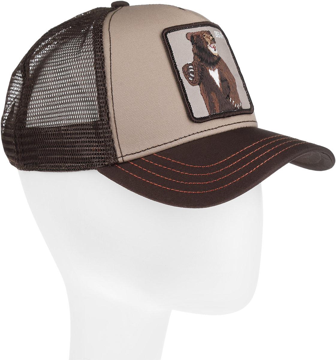 Бейсболка Goorin Brothers, цвет: бежевый, темно-коричневый. 16-708-14-00. Размер универсальный16-708-14-00Стильная бейсболка Goorin Brothers, выполненная из высококачественных материалов, идеально подойдет для прогулок, занятия спортом и отдыха. Она надежно защитит вас от солнца и ветра. Классическая кепка с сетчатой задней частью станет правильным выбором. Изделие оформлено нашивкой с изображением медведя и надписью Bear. Объем бейсболки регулируется пластиковым фиксатором.Ничто не говорит о настоящем любителе путешествий больше, чем любимая кепка. Эта модель станет отличным аксессуаром и дополнит ваш повседневный образ.