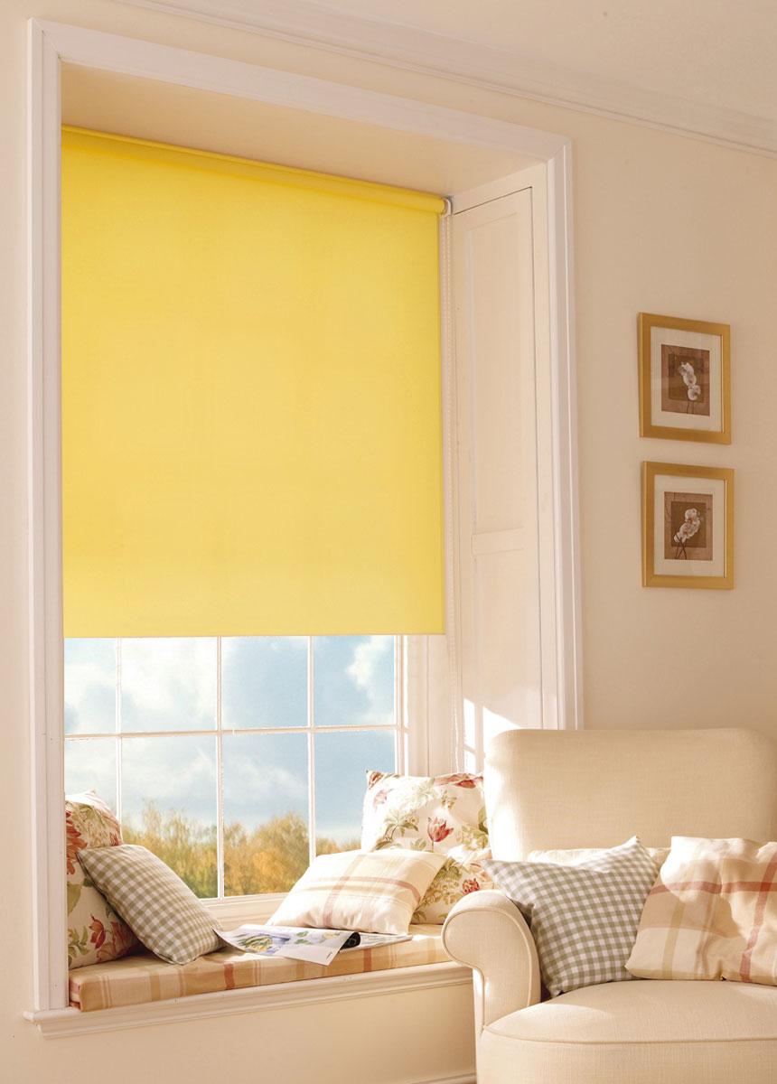 Штора рулонная KauffOrt Миниролло, цвет: желтый, ширина 90 см, высота 170 см шторы интерьерные kauffort штора на тесьме campina 150х270см