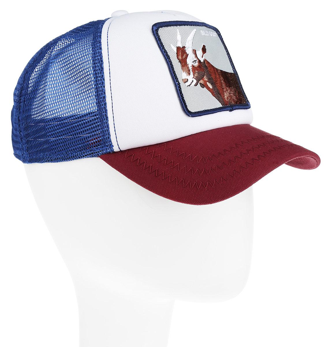 Бейсболка Goorin Brothers, цвет: белый, синий, темно-красный. 16-984-19-00. Размер универсальный16-984-19-00Стильная бейсболка Goorin Brothers, выполненная из высококачественных материалов, идеально подойдет для прогулок, занятия спортом и отдыха. Она надежно защитит вас от солнца и ветра. Классическая кепка с сетчатой задней частью станет правильным выбором. Изделие оформлено нашивкой с изображением козла и надписью Billy Goat. Объем бейсболки регулируется пластиковым фиксатором.Ничто не говорит о настоящем любителе путешествий больше, чем любимая кепка. Эта модель станет отличным аксессуаром и дополнит ваш повседневный образ.