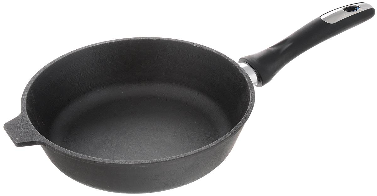 Сковорода чугунная Катюша. Диаметр 22 см722Сковорода Катюша, изготовленная из натурального экологически безопасного чугуна, оснащена пластиковой ручкой. Чугун является одним из лучших материалов для производства посуды. Его можно нагревать до высоких температур. Он очень практичный, не выделяет токсичных веществ, обладает высокой теплоемкостью и способен служить долгие годы. Такая сковорода замечательно подойдет для приготовления жаренных и тушеных блюд, а также прекрасно подходит для приготовления как стейков, так и овощей, при этом результат всегда просто потрясающий. Вы всегда будете готовить самую вкусную и полезную для здоровья пищу. Подходит для всех типов плит, включая индукционные. Можно мыть в посудомоечной машине.Длина ручки: 17 см.Высота стенки: 6,5 см.