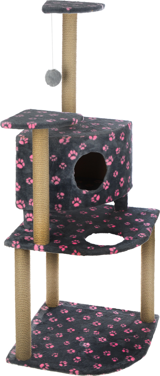 Игровой комплекс для кошек Меридиан, с домиком и когтеточкой, цвет: серый, розовый, бежевый, 55 х 55 х 140 смД441 Ла_серый,розовые лапыИгровой комплекс для кошек Меридиан выполнен из высококачественного ДВП и ДСП и обтянут искусственным мехом. Изделие предназначено для кошек. Комплекс имеет 3 яруса. Ваш домашний питомец будет с удовольствием точить когти о специальные столбики, изготовленные из джута. А отдохнуть он сможет либо на полках, либо в домике. На одной из полок расположена игрушка, которая еще сильнее привлечет внимание питомца.Общий размер: 55 х 55 х 140 см.Размер домика: 42 х 42 х 31 см.Размер полок: 26 х 26 см.Размер нижнего яруса: 55 х 55 см.