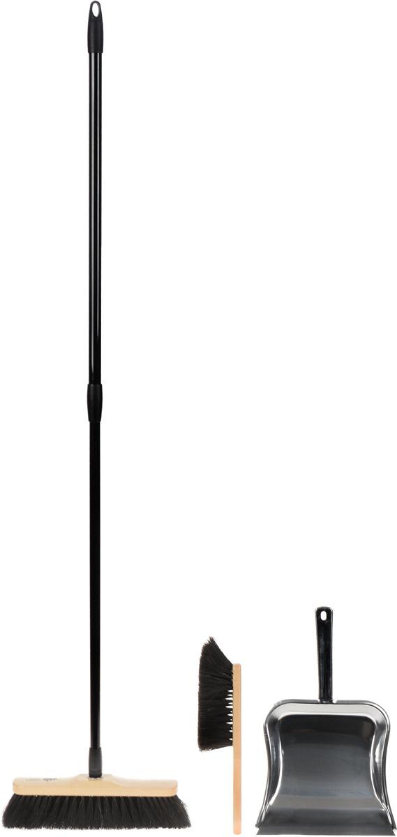 Набор для сухой уборки Rival Natur Line, цвет: черный, бежевый, 3 предмета102640_черный, бежевыйКрасивый, эксклюзивный набор для домашней сухой уборки Rival Natur Line состоит из швабры, совка и щетки. С помощью швабры и щетки вы легко соберете мусор со всех видов полов, не образуя пыли. Они имеют длинную мягкую щетину, которая крепится к деревянной основе. Швабра снабжена удобной телескопической ручкой, выполненной из стали. Телескопическая ручка позволит использовать ее в труднодоступных местах. Совок изготовлен из высококачественного металла. Благодаря резиновому краю совка, в него легко сметать грязь и мусор. С набором Rival Natur Line уборка станет легче и приятнее.Размер рабочей части швабры: 28 х 7 см.Длина ворса швабры: 6 см.Длина ручки швабры: 73-130 см.Длина щетки: 29 см.Размер рабочей части щетки: 14 х 4,5 см.Длина ворса щетки: 6 см.Размер рабочей части совка: 23,5 х 22 см.Длина ручки совка: 15 см.