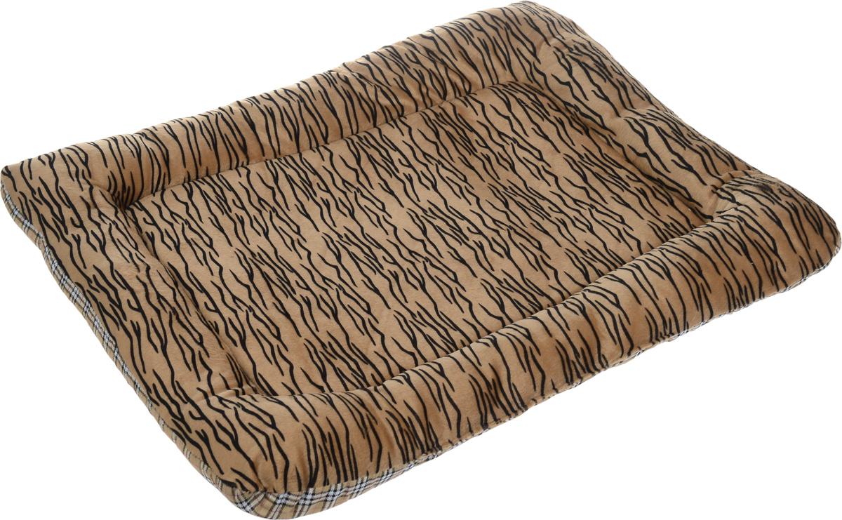 Матрас для животных Каскад Тигр. №4, цвет: коричневый, черный, белый, 72 х 56 см игрушка для животных каскад мячик пробковый цвет зеленый 3 5 см