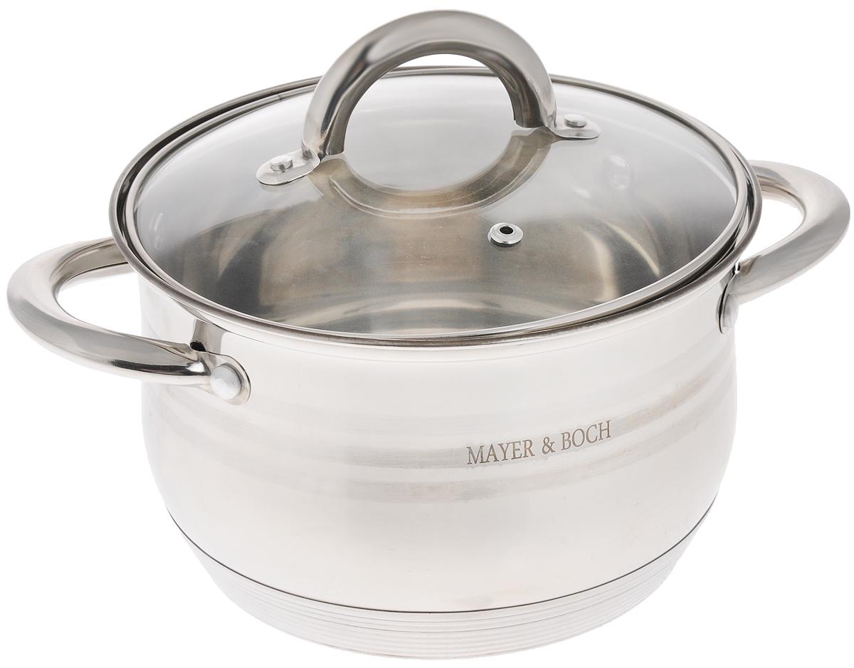 Кастрюля Mayer & Boch с крышкой, 2,8 л. 2403124031Кастрюля Mayer & Boch изготовлена из высококачественной нержавеющей стали. Комбинация матовой и зеркальной полировки внешнего покрытия придает изделию особо эстетичный и стильный вид. Изделие предназначено для здорового приготовления пищи. Внутренняя гладкая поверхность легко чистится - можно мыть в воде руками или протирать полотенцем. Кастрюля имеет многослойное термоаккумулирующее дно, которое обеспечивает быстрый подогрев пищи, а также сохранит тепло. Кастрюля оснащена двумя удобными ручками. Крышка из термостойкого стекла снабжена металлическим ободом, удобнойручкой и отверстием для выпуска пара. Такая крышка позволяет следить за процессом приготовления пищи без потери тепла. Она плотно прилегает к краю кастрюли, сохраняя аромат блюд. Подходит для газовых, электрических, стеклокерамических и индукционных плит. Можно мыть в посудомоечной машине. Диаметр кастрюли (по верхнему краю): 19,5 см.Высота стенки: 12 см. Ширина кастрюли (с учетом ручек): 26 см.