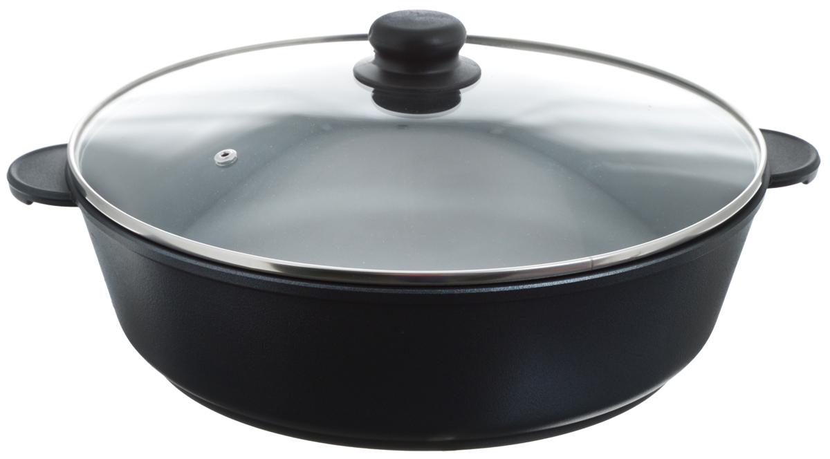 Жаровня Катюша Классика с крышкой, с антипригарным покрытием. Диаметр 32 см6032Жаровня Катюша Классика изготовлена из литого алюминия с антипригарным покрытием, которое предотвращает пригорание и прилипание пищи. Специальным образом отшлифованное дно обеспечивает идеальный контакт с варочной поверхностью. Изделие снабжено стеклянной крышкой TimA. Подходит для газовых, электрических, галогеновых и стеклокерамических плит. Не подходит для индукционных плит. Можно мыть в посудомоечной машине. Ширина жаровни (с учетом ручек): 38,5 см. Высота стенки: 9,2 см.