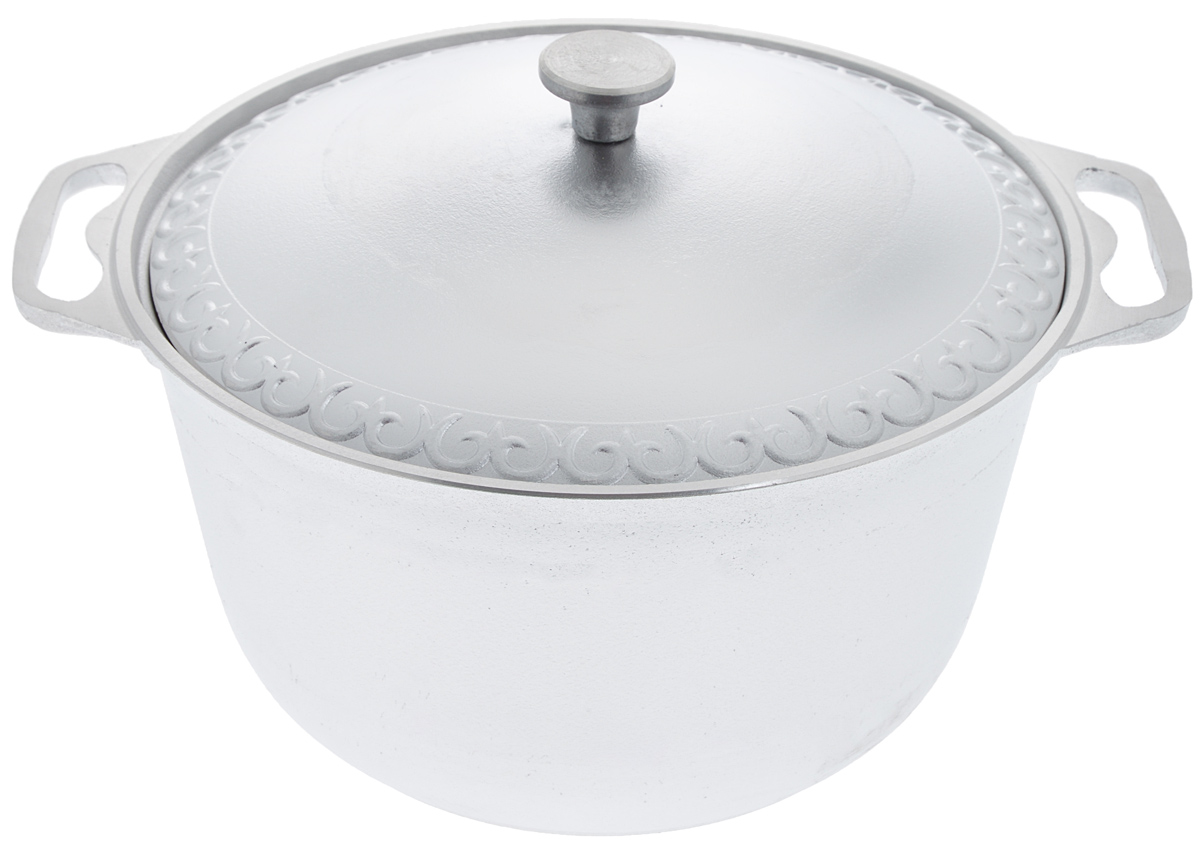 """Кастрюля """"Катюша"""", выполненная из литого алюминия, позволит вам приготовить вкуснейшие блюда. Обычно такие кастрюли используют для варки каш либо овощей. Благодаря хорошей теплопроводности алюминия, молоко или вода закипают в них быстрее, чем в эмалированных кастрюлях.Данная кастрюля отличается долговечностью и легкостью. Подходит для всех видов плит, кроме индукционных. Не рекомендуется мыть в посудомоечной машине. Высота стенки: 16,5 см. Ширина кастрюли (с учетом ручек): 37,5 см. Диаметр кастрюли (по верхнему краю): 30 см. Диаметр основания: 21,5 см."""