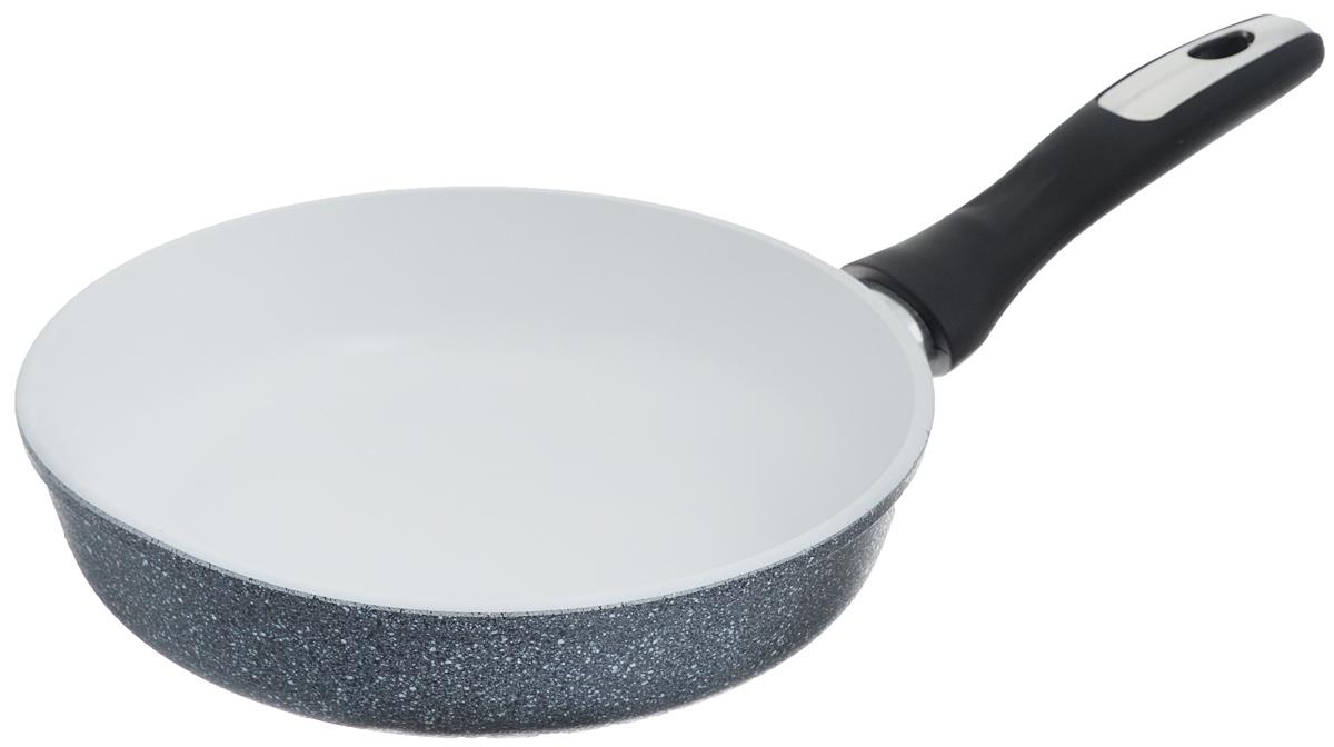 Сковорода Катюша, с керамическим покрытием. Диаметр 22 см3522Сковорода Катюша выполнена из высококачественного алюминия.Внутреннее керамическое покрытие предотвращает пригорание и обеспечивает быстрое и качественное приготовление пищи. Покрытие выдерживает температуру до 450°С и обладает высокой прочностью. При нагревании не выделяется вредной примеси PFOA, сковорода экологична иабсолютно безопасна для приготовления пищи. Утолщенное дно обеспечивает быстрый нагрев и равномерное распределение тепла по всей поверхности. Ручка, выполненная из пластика, не нагревается в процессе готовки иобеспечивает надежный хват. Подходит для всех типов плит, кроме индукционных. Можно мыть впосудомоечной машине. Высота стенки: 5,5 см. Длина ручки: 16,5 см.