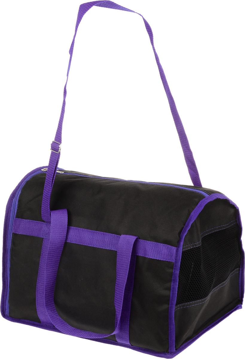 Сумка-переноска для животных Каскад Спорт, цвет: черный, фиолетовый, 40 х 28 х 29 см26000102Текстильная сумка-переноска Каскад Спорт для собакмелких пород и кошек имеет твердое основание, которое непозволит животному провисать. С одной стороны переноскиимеется специальная сетчатая вставка, чтобы ваш любимец могдышать. С другой стороны сумка закрывается на застежку-молнию. В верхней части изделия есть застежка-молния, открывающая доступ в отделение для необходимых вам вещей.Для удобной переноски у сумки имеются две ручки ирегулируемая лямка.При необходимости сумку можно сложить. Сумка-переноска Каскад Спорт понравится вашимдомашним любимцам.Прикольные переноски, которые наверняка понравятся питомцу. Статья OZON Гид
