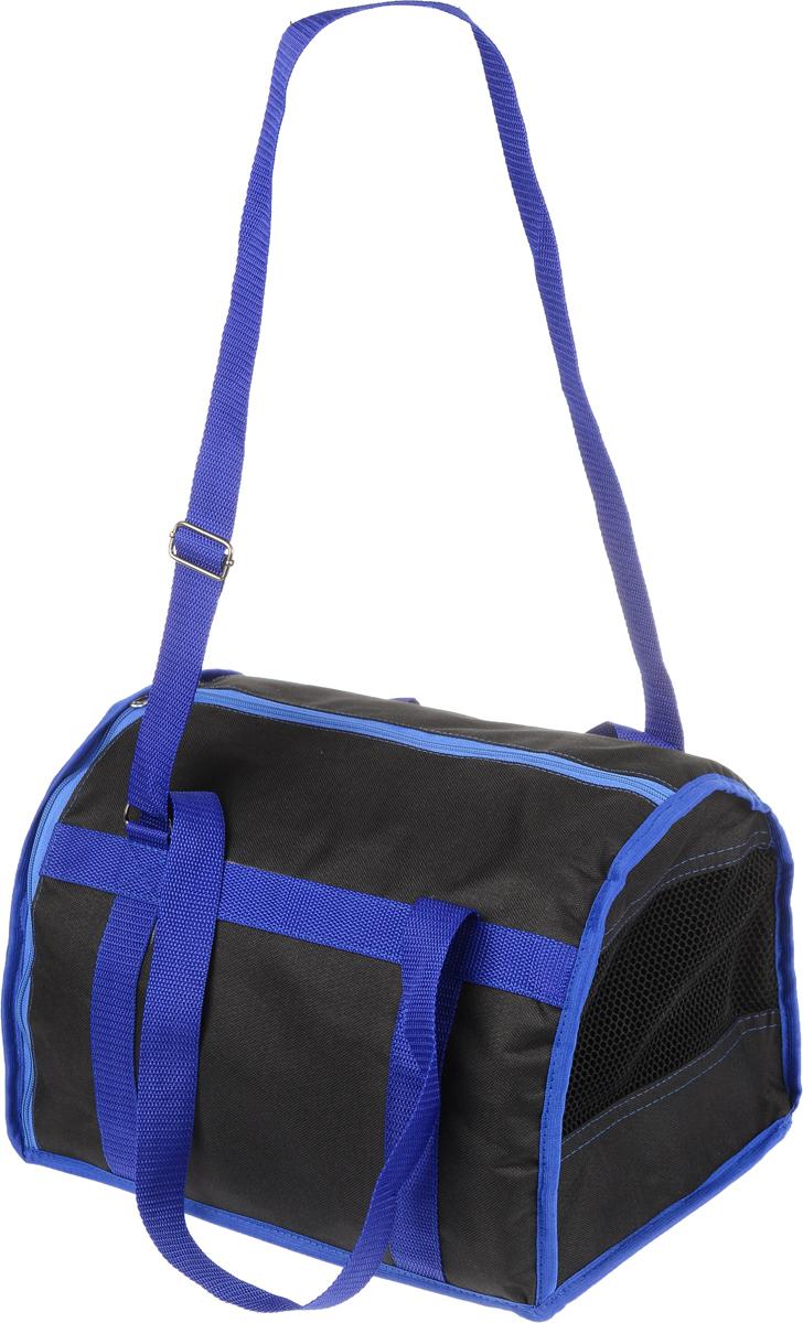 Сумка-переноска для животных Каскад Спорт, цвет: черный, синий, 37 х 27 х 25 см26000101_черный, синийТекстильная сумка-переноска Каскад Спорт для собакмелких пород и кошек имеет твердое основание, которое непозволит животному провисать. С одной стороны переноскиспециальная сетчатая вставка, чтобы ваш любимец могдышать. С другой стороны сумка закрывается на застежку-молнию.В верхней части изделия есть застежка-молния, открывающая доступ в отделение для необходимых вам вещей. Для удобной переноски у сумки имеются две ручки ирегулируемая лямка. При необходимости сумку можно сложить.Сумка-переноска Каскад Спорт понравится вашимдомашним любимцам.Прикольные переноски, которые наверняка понравятся питомцу. Статья OZON Гид