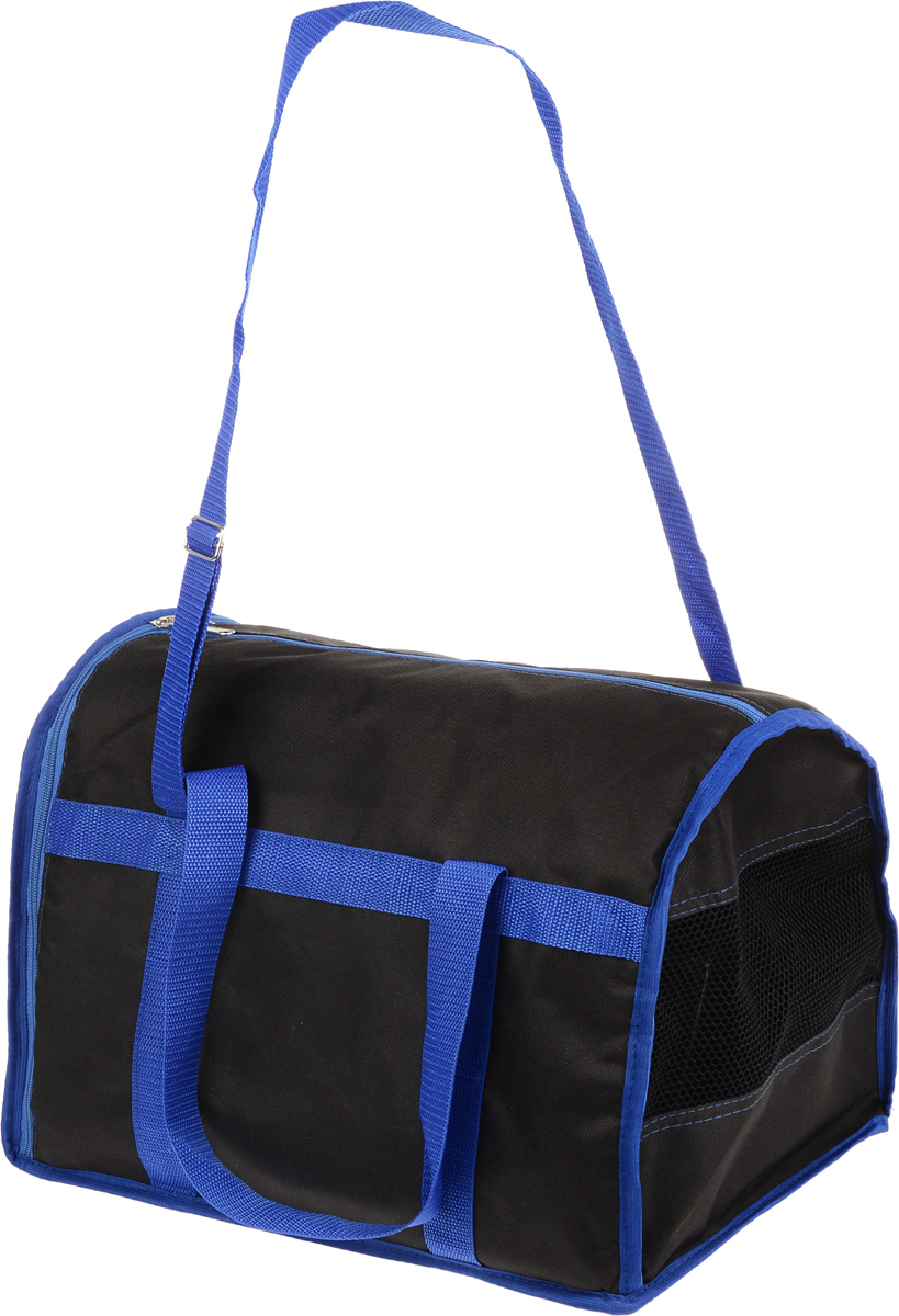 Сумка-переноска для животных Каскад  Спорт , цвет: черный, синий, 40 х 28 х 29 см