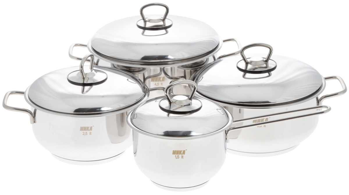 Набор посуды Катюша, 8 предметовЕ300Набор посуды Катюша состоит из трех кастрюль с крышками и ковша с крышкой. Посуда изготовлена из высококачественной нержавеющей стали, что гарантирует безупречный внешний вид посуды, практичность и долговечность. Трехслойное теплораспределяющее дно позволяет равномерно распределять и значительно дольше сохранять тепло по стенкам и дну посуды, что предотвращает пригорание пищи и обеспечивает более быстрое приготовление блюд. Крышки, выполненные из термостойкого стекла, оснащены ободом из нержавеющей стали и отверстием для выхода пара. Эргономичный дизайн и функциональность набора Катюша позволят вам наслаждаться процессом приготовления любимых блюд. Изделия подходят для использования на всех типах плит, включая индукционные. Можно мыть в посудомоечной машине.Диаметр кастрюль: 18 см; 20 см; 22 см.Высота кастрюль: 10 см; 10 см; 12,5 см.Ширина кастрюль (с учетом ручек): 26 см; 28 см; 30,5 см.Объем кастрюль: 2,5 л; 3 л; 4,5 л.Диаметр ковша: 14 см.Высота ковша: 10 см.Длина ручки ковша: 15 см.Объем ковша: 1,5 л.