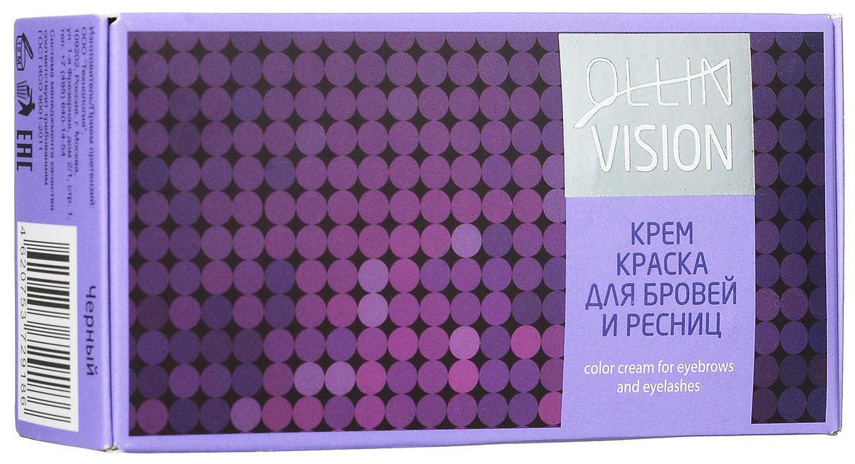 OllinКрем-краска для бровей и ресниц (черный) Vision Set Color Cream For Eyebrows And Eyelashes (Black) 20+20 мл (в наборе)