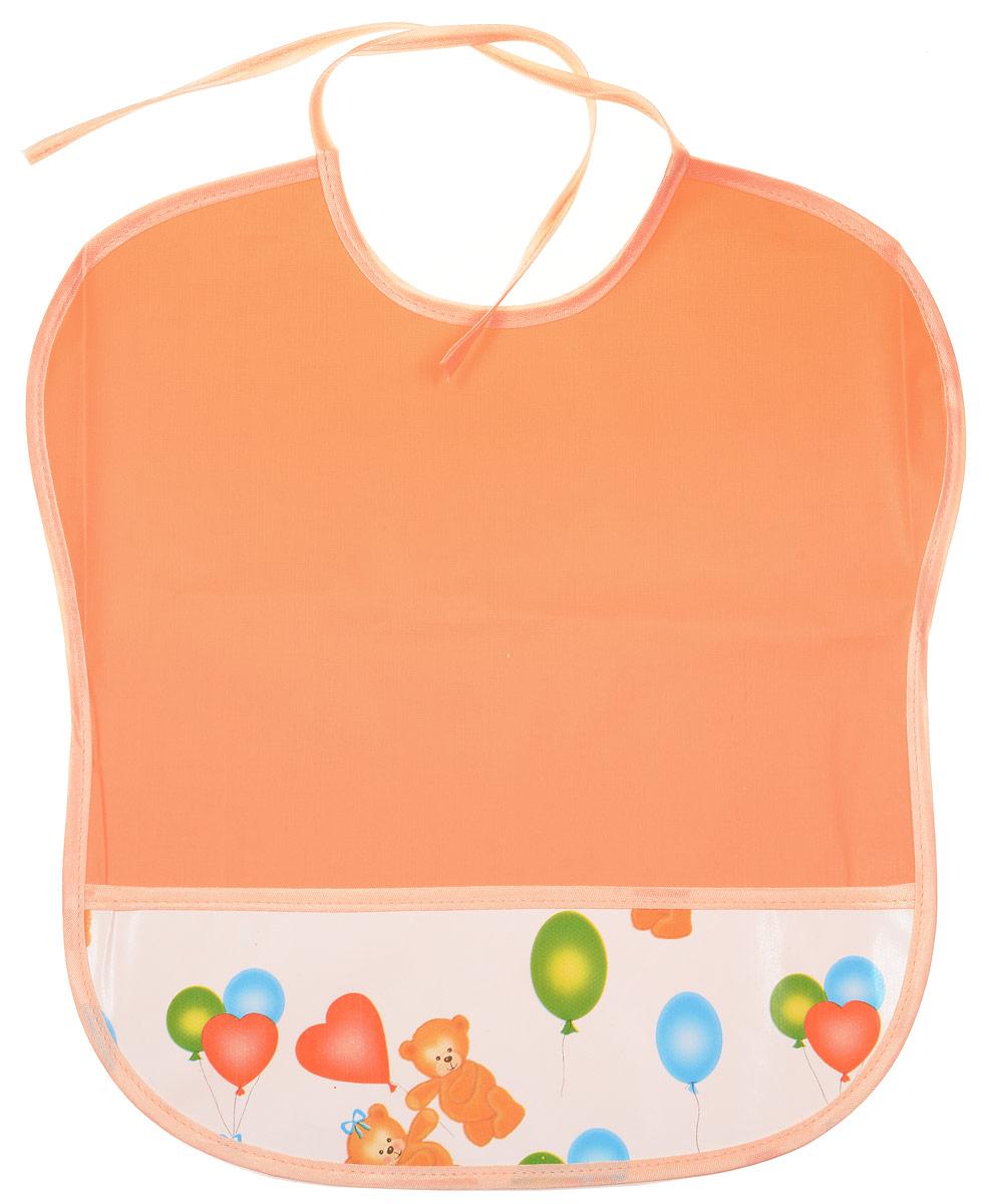 Колорит Нагрудник цвет персиковый 33 х 33 см -  Все для детского кормления