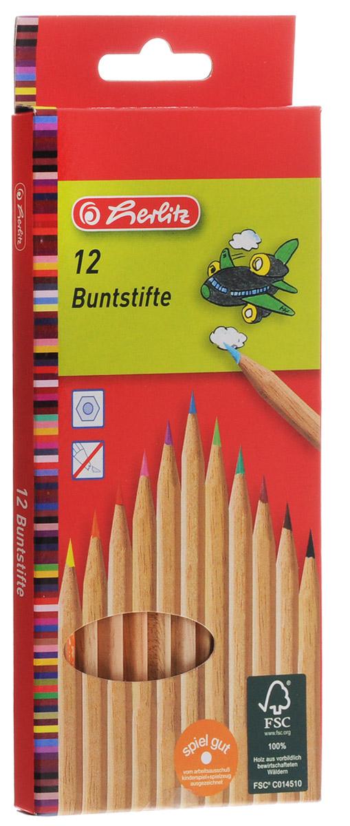 Herlitz Набор цветных карандашей 12 шт набор цветных карандашей maped color peps 12 шт 683212 в тубусе подставке
