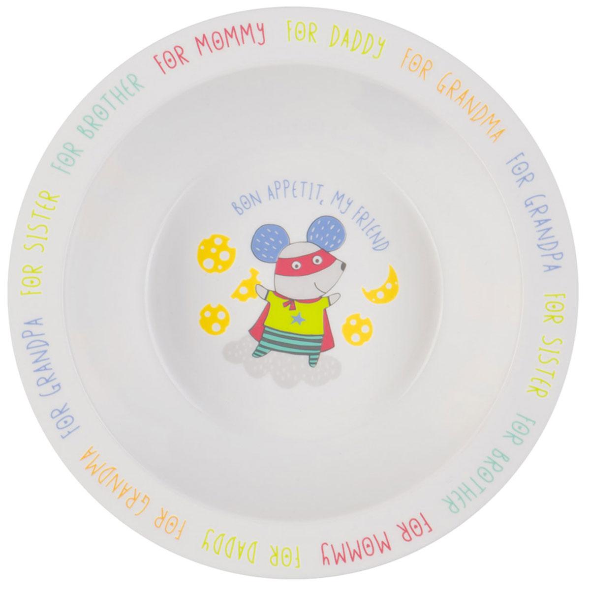 Happy Baby Тарелка детская Мышка15016 NEW_мышкаТарелка детская Happy Baby Мышка изготовлена из безопасного материала.Тарелочка, оформленная веселой картинкой, понравится и малышу, и родителям! Ребенок будет с удовольствием учиться кушать самостоятельно. Тарелочка подходит для горячей и холодной пищи.Яркий дизайн тарелки превращает процесс кормления в увлекательную игру.Можно использовать в СВЧ-печи и мыть в посудомоечной машине.Подходит для детей от 6 месяцев.