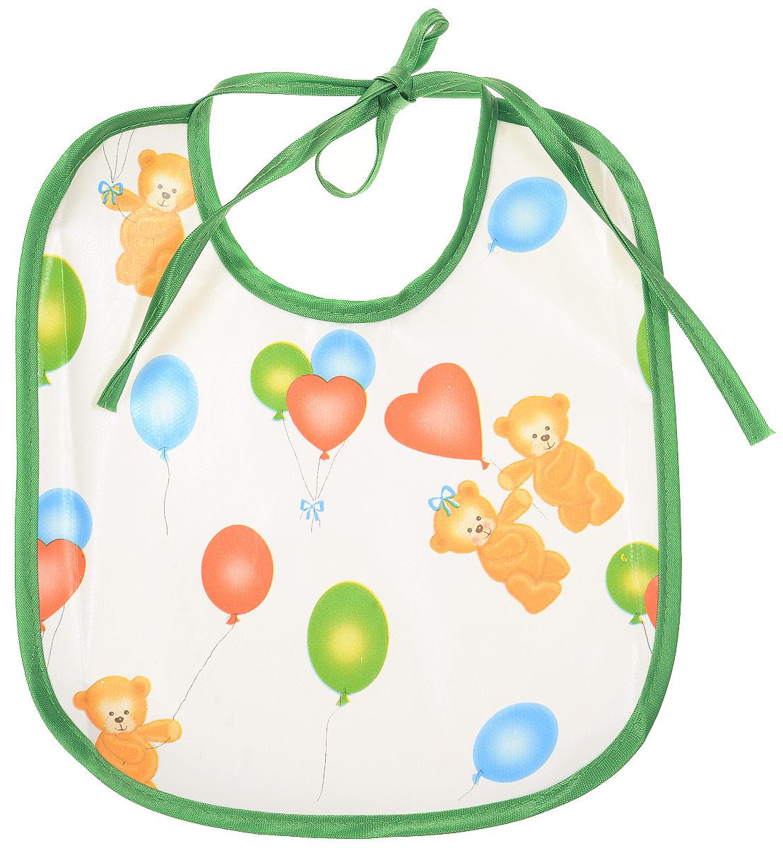 Колорит Нагрудник Мишки с шариками цвет зеленый белый 20 х 22 см
