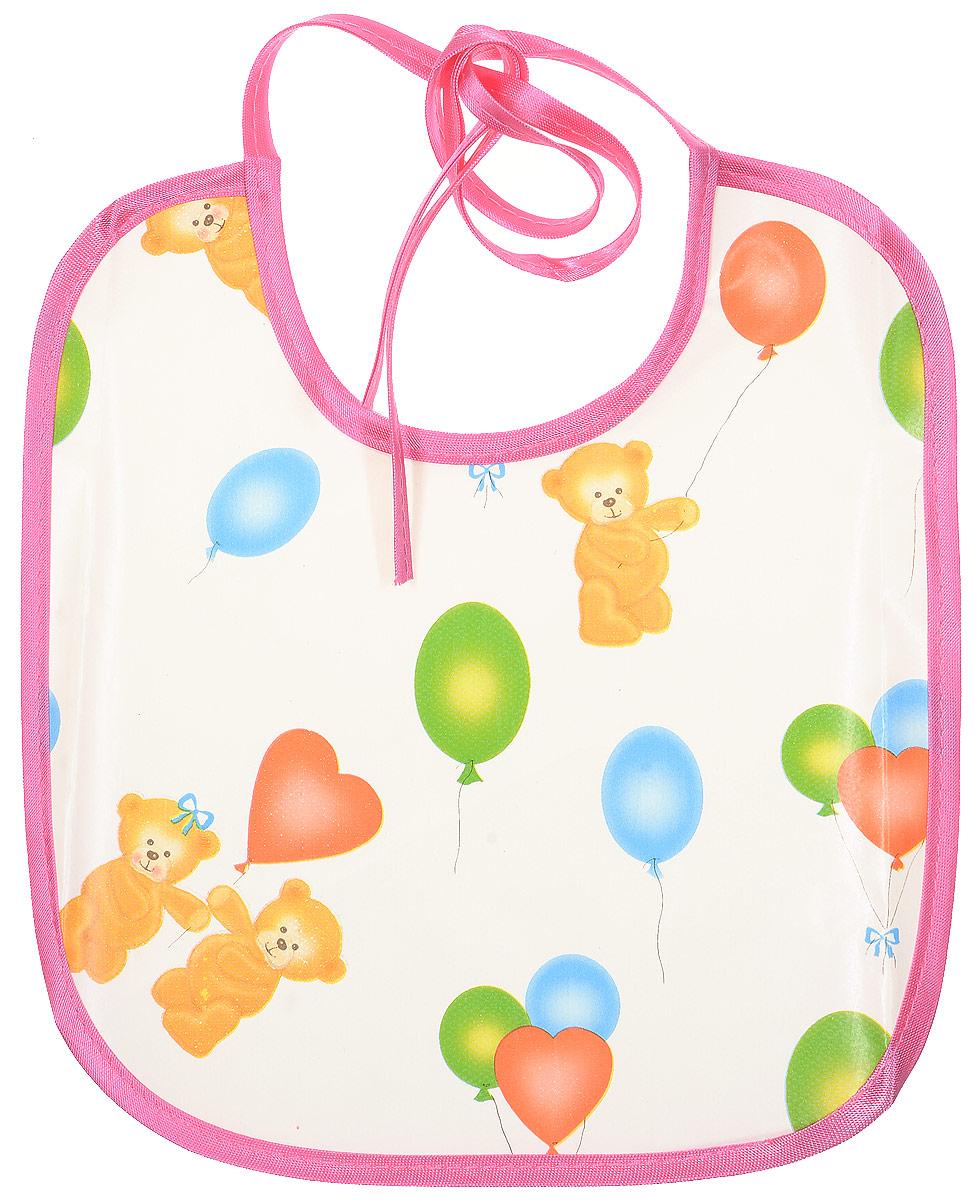 Колорит Нагрудник Мишки с шариками цвет белый розовый 20 х 22 см -  Все для детского кормления