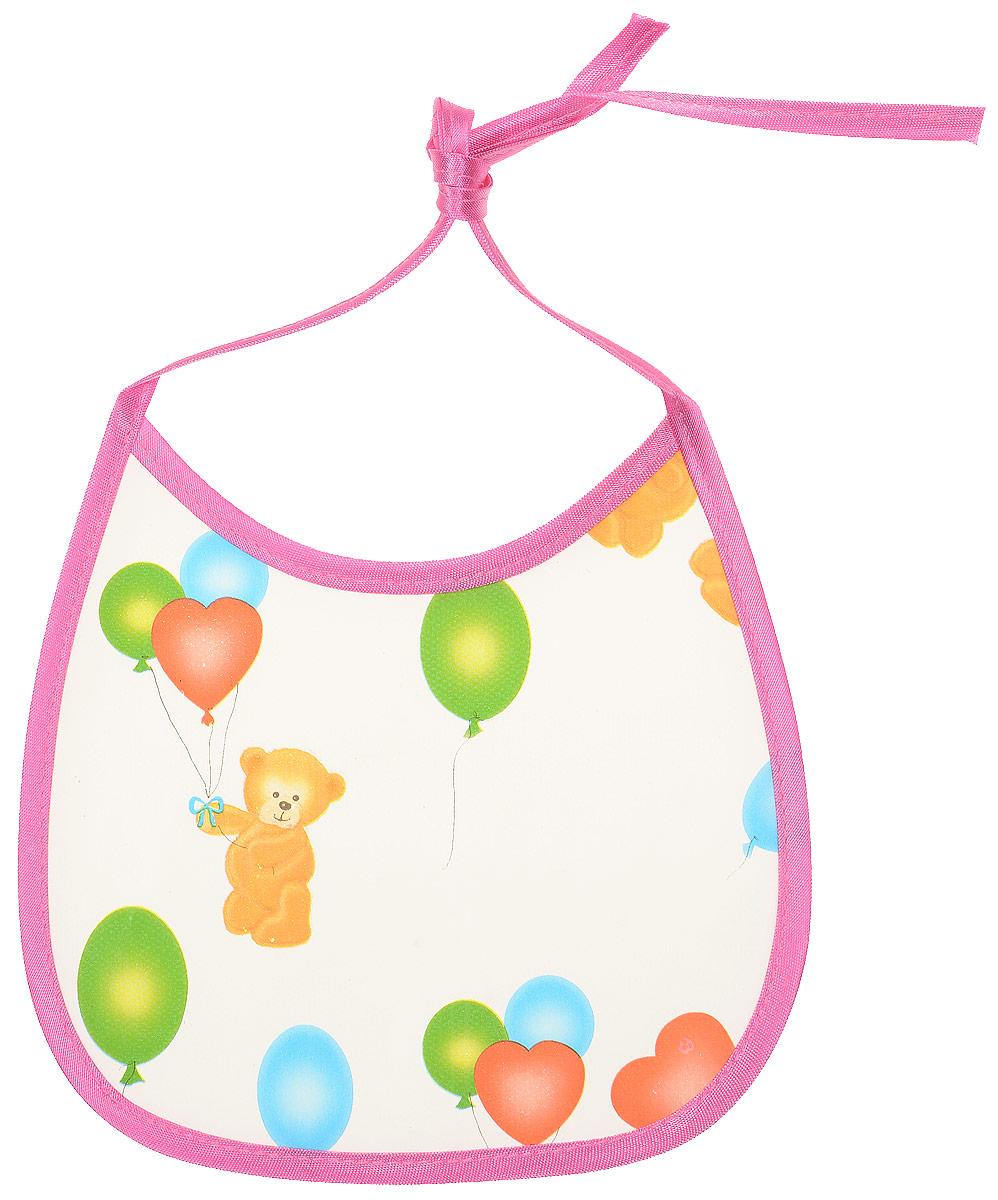 Колорит Нагрудник Мишки с шариками цвет розовый белый 17 х 17 см