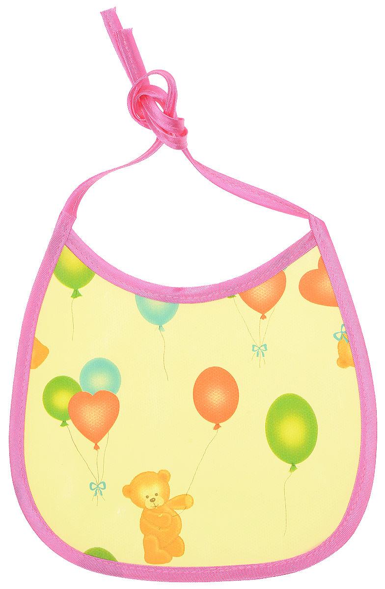 Колорит Нагрудник Мишки с шариками цвет желтый розовый 17 х 17 см