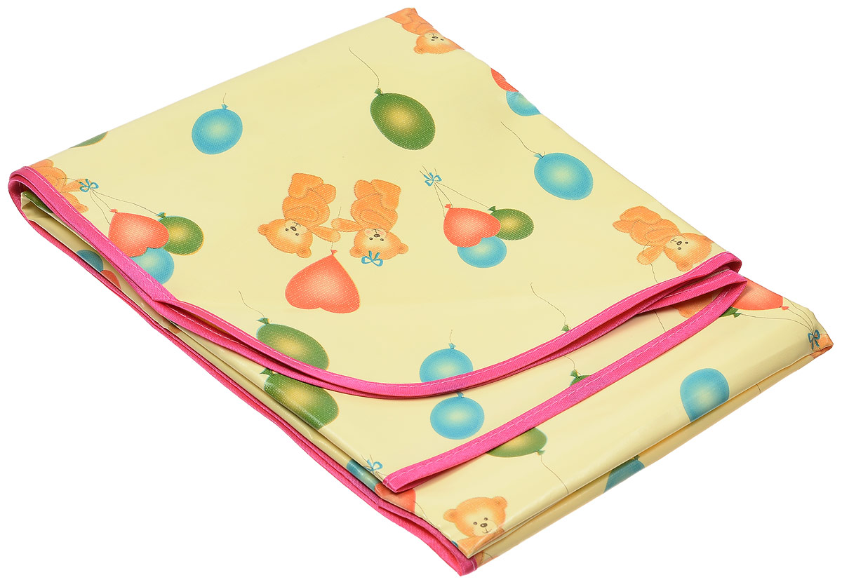 Колорит Клеенка подкладная с резинками-держателями цвет желтый розовый 70 х 100 см -  Подгузники и пеленки