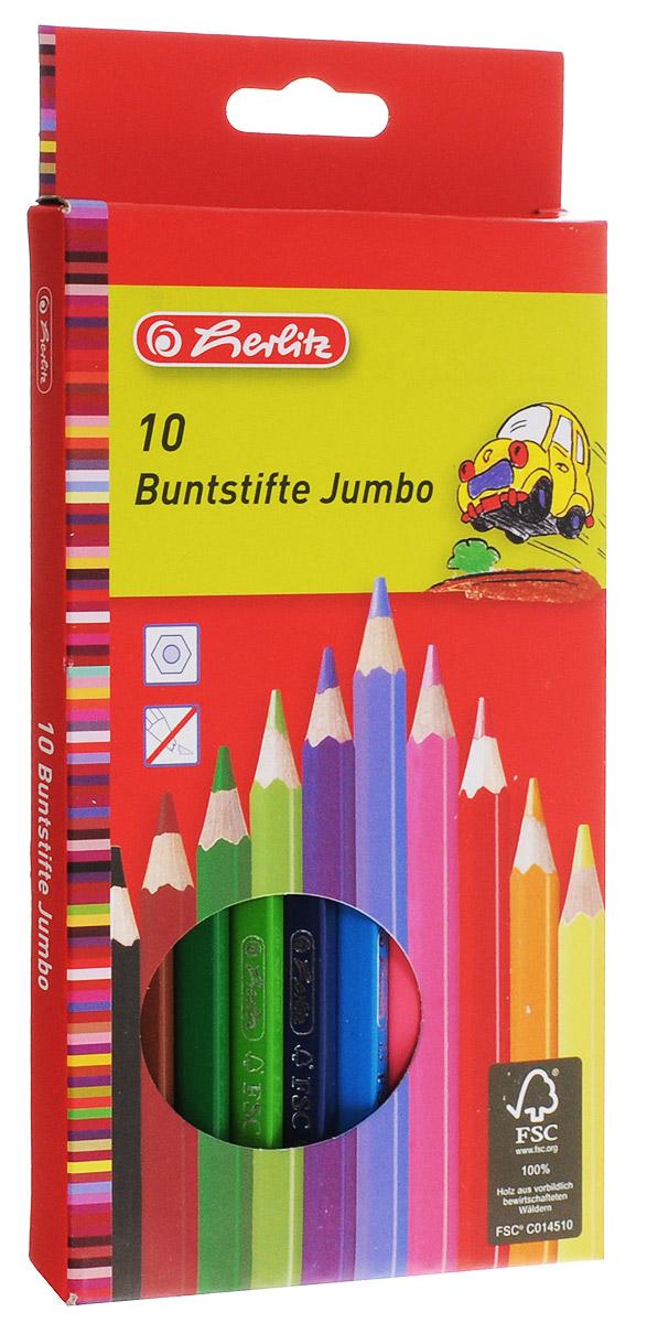 Herlitz Набор цветных карандашей 10 шт10795276Корпус цветных карандашей Herlitz изготовлен из натуральной древесины и покрыт лаком на водной основе.Карандаши легко и аккуратно затачиваются, имеют яркие насыщенные цвета. Мягкий грифель легко рисует на бумаге и не царапает ее.В наборе 10 цветных карандашей.