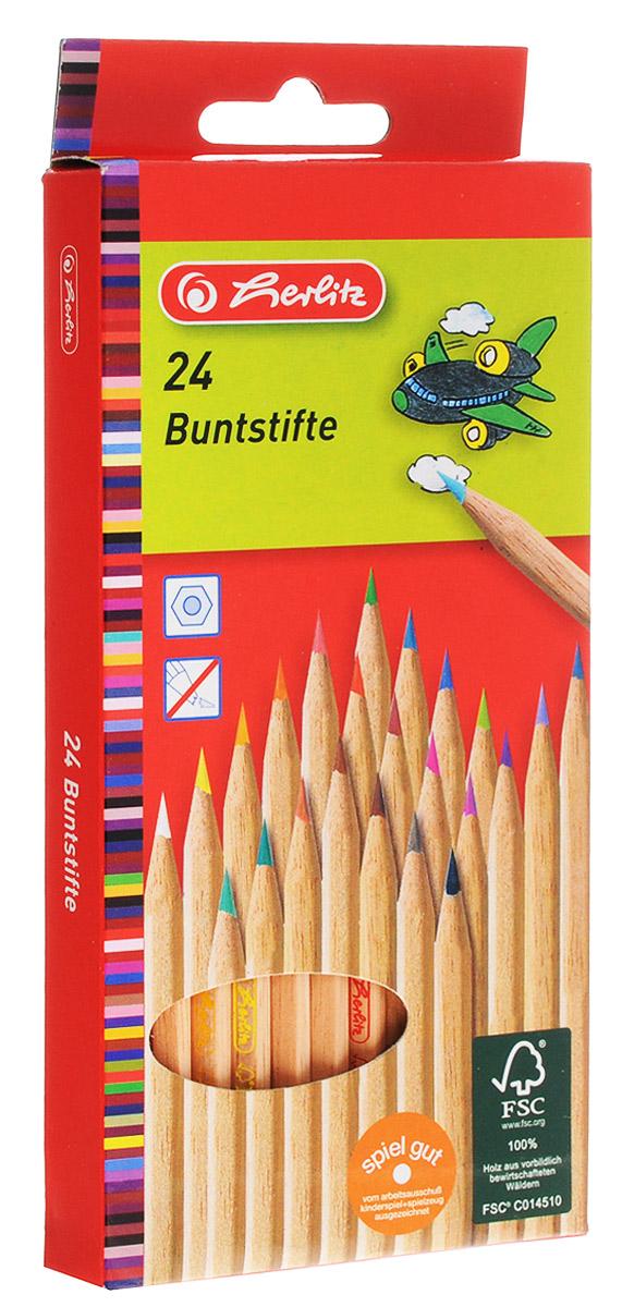 Herlitz Набор цветных карандашей 24 шт8660524Набор цветных карандашей Herlitz откроет юным художникам новые горизонтыдля творчества, а также поможет отлично развить мелкую моторику рук, цветовоевосприятие, фантазию и воображение. Традиционный шестигранный корпусизготовлен из натуральной древесины светлого цвета. Карандаши удобнодержать в руках, а мягкий грифель не требует сильного нажима. Комплектвключает в себя 24 заточенных карандаша ярких насыщенных цветов.