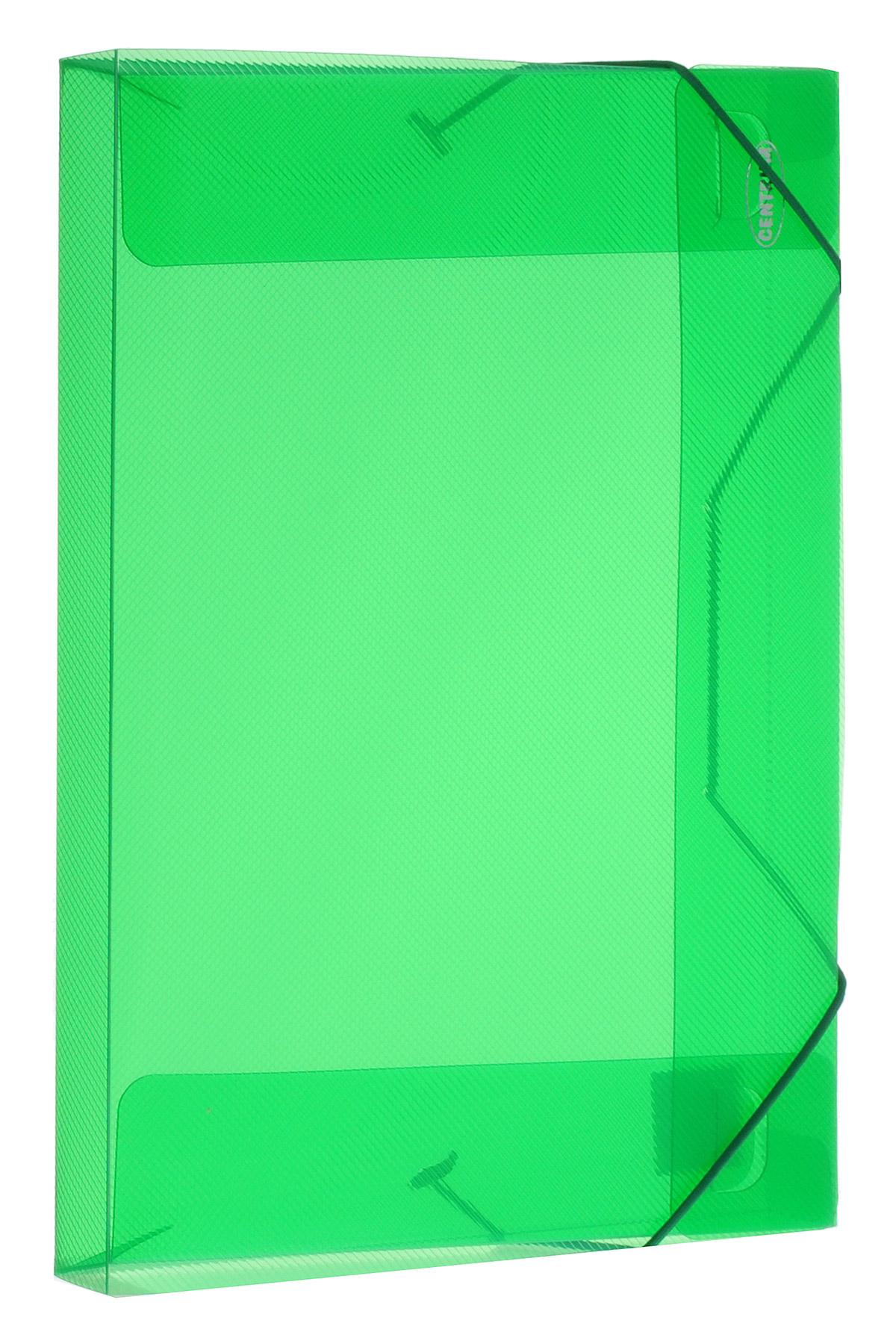 Centrum Папка на резинке цвет зеленый формат А4 8001980019_зеленыйПапка на резинке Centrum станет вашим верным помощником дома и в офисе.Это удобный и функциональный инструмент, предназначенный для хранения и транспортировки больших объемов рабочих бумаг и документов формата А4. Папка изготовлена из износостойкого высококачественного пластика. Состоит из одного вместительного отделения. Закрывается папка при помощи прочной резинки.Папка - это незаменимый атрибут для любого студента, школьника или офисного работника. Такая папка надежно сохранит ваши бумаги и сбережет их от повреждений, пыли и влаги.