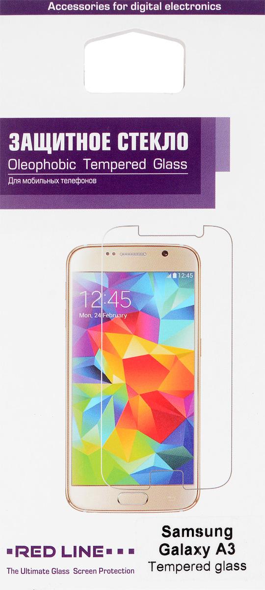 Red Line защитное стекло для Samsung Galaxy A3УТ000005915Защитное стекло Red Line для Samsung Galaxy A3 предназначено для защиты поверхности экрана от царапин, потертостей, отпечатков пальцев и прочих следов механического воздействия. Оно имеет окаймляющую загнутую мембрану, а также олеофобное покрытие. Изделие изготовлено из закаленного стекла высшей категории, с высокой чувствительностью и сцеплением с экраном.