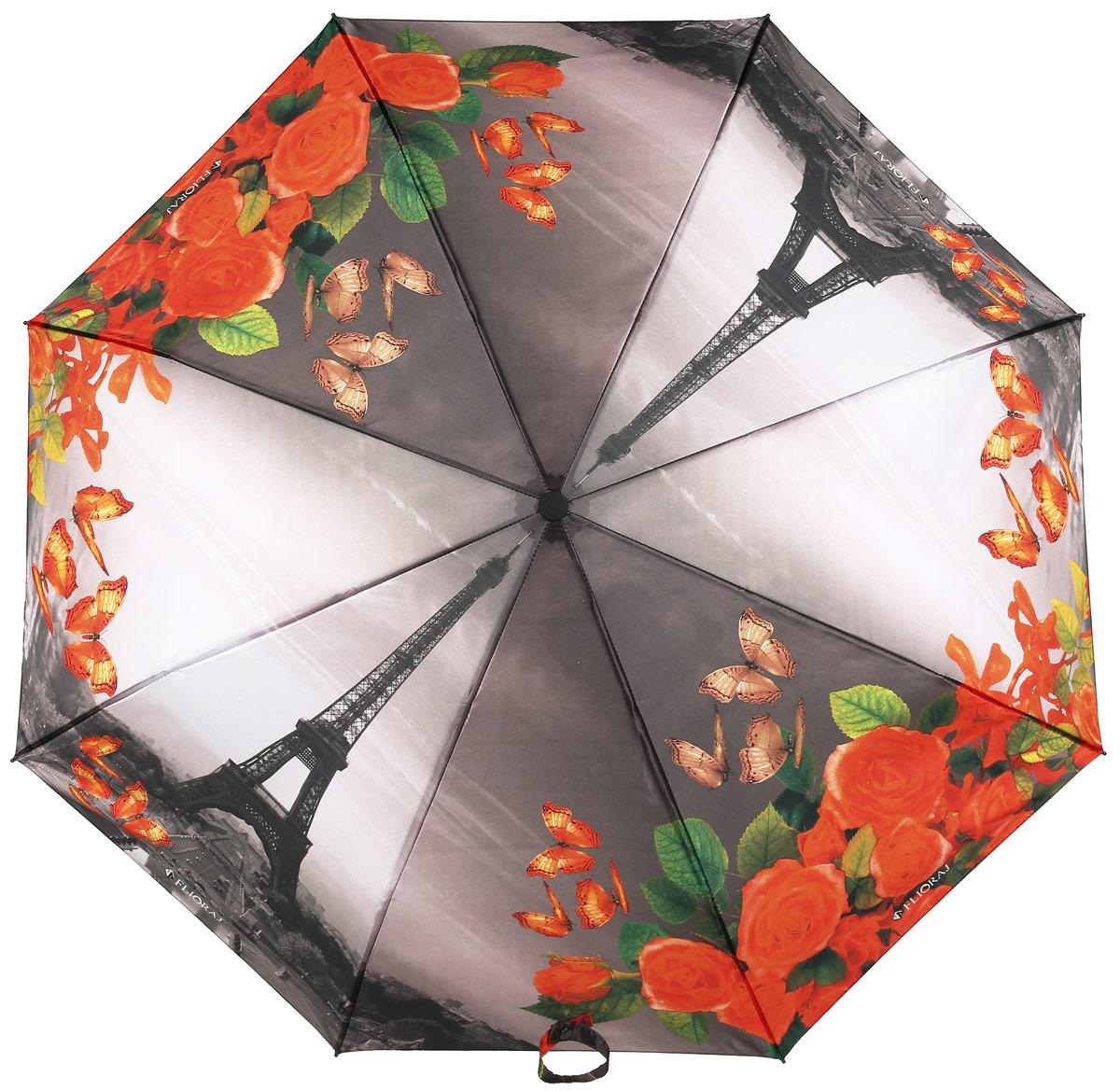 Зонт женский Flioraj, автомат, 3 сложения, цвет: серый, оранжевый. 231219 FJ