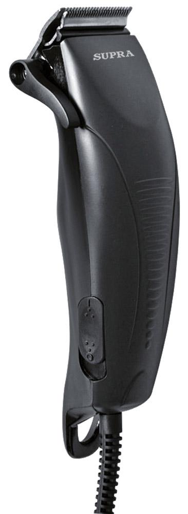 Supra HCS-303 машинка для стрижкиHCS-303С машинкой для стрижки волос Supra HCS-303 вы можете сделать красивую и модную прическу не только в парикмахерской, но и дома. Плавная регулировка длины стрижки осуществляется при помощи четырех насадок 3-12 мм, идущих в комплекте с устройством. Прорезиненные вставки на корпусе не позволят машинке выскальзывать из рук во время работы с ней.