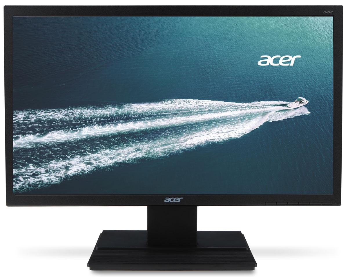 Acer V246HLbid, Black мониторV246HLbidМонитор Acer V246HLbid — это окно в новый мир. Благодаря разрешению Full HD 1080p, превосходной скоростиотклика и высокому коэффициенту контрастности, обеспечиваемому технологией Adaptive Contrast Management,вы сможете наслаждаться просмотром изображения невероятного качества. А благодаря технологии Acer eColorManagement ваш мир заиграет всеми красками.Монитор Acer V246HLbid оснащен полным набором функций для улучшения качества изображения, которыеподарят вашим глазам комфорт и защиту. Дополнительным преимуществом монитора является эргономичнаянаклоняемая подставка, которую вы можете регулировать так, как вам удобно.Монитор Acer V246HLbid вносит свой вклад в поддержку экологических технологий. Он соответствуетразличным экологическим стандартам и не содержит ртути и мышьяка.