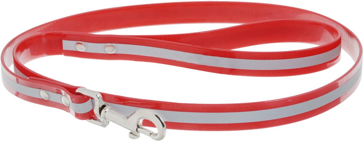 Поводок для собак Каскад Синтетик, со светоотражающей полосой, цвет: красный, ширина 2 см, длина 1,2 м поводок для собак каскад классика двухсторонний со стальным карабином ширина 2 см длина 1 2 м