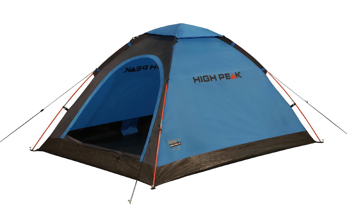 Палатка легкая High Peak Monodome PU 2, цвет: синий, 205 х 150 х 105 см10158Легкая компактная палатка High Peak Monodome PU 2 купольного типа подойдет для легкоходов и рыбаков. Палатка проста в установке, дуги продеваются в рукава на внешнем тенте, что позволяет устанавливать палатку и в дождь. Материал тента имеет полиуретановое покрытие и водонепроницаемость не менее 1500 мм водяного столба. Это позволяет защититься от ветра и дождя. Вентиляционное окно расположено в верхней точке купола палатки и защищено тканевым грибом. Палатка имеет четыре оттяжки, что надежно ее фиксирует во время ветреной погоды. Вход в палатку защищает тканевый полог, а если погода жаркая, то можно оставить только москитную сетку на входе. Дно палатки выполнено из армированного полиэтилена, водонепроницаемость 3000 мм. Палатка двухместная.