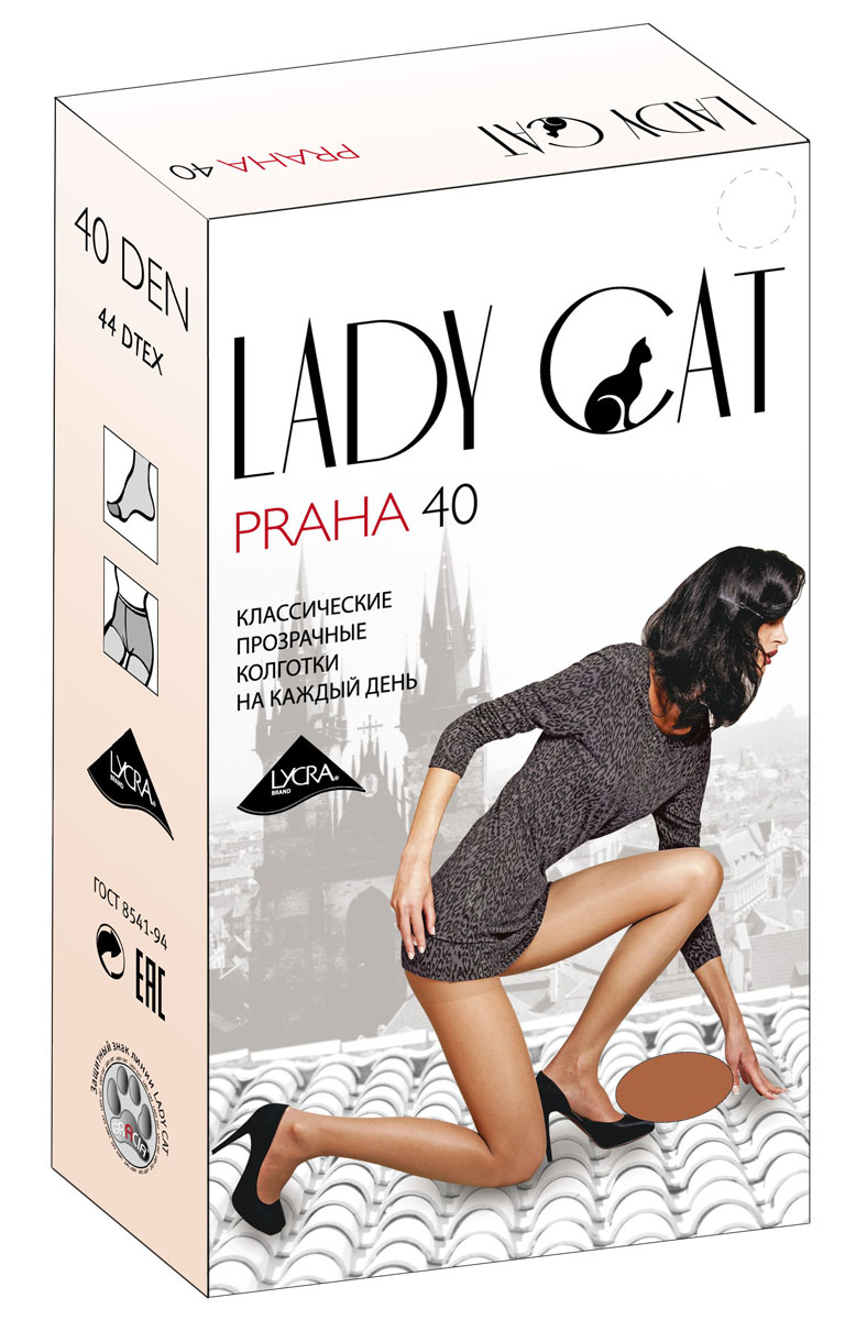 Колготки Lady Cat Praha 40 box, цвет: дымчатый. Размер 4Praha 40 boxЭлегантные прозрачные колготки с лайкрой, с усиленным торсом и уплотненным мыском, один задний шов.
