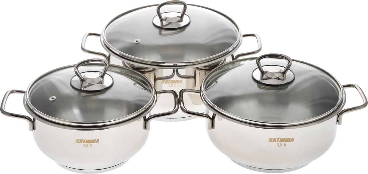 """Набор """"Катюша"""" состоит из трех кастрюль с крышками. Посуда изготовлена из высококачественной нержавеющей стали, что гарантирует безупречный внешний вид посуды, практичность и долговечность. Трехслойное дно позволяет равномерно распределять и значительно дольше сохранять тепло по стенкам и дну посуды, что предотвращает пригорание пищи и обеспечивает более быстрое приготовление блюд. Крышки, выполненные из термостойкого стекла, оснащены ободом из нержавеющей стали и отверстием для выхода пара. Эргономичный дизайн и функциональность набора """"Катюша"""" позволят вам наслаждаться процессом приготовления любимых блюд. Изделия подходят для использования на всех типах плит, включая индукционные. Можно мыть в посудомоечной машине.Диаметр кастрюль: 18 см; 20 см; 22 см.Высота кастрюль: 10 см; 10 см; 12,5 см.Ширина кастрюль (с учетом ручек): 26 см; 28 см; 30 см.Объем кастрюль: 2,5 л; 3 л; 4,5 л."""