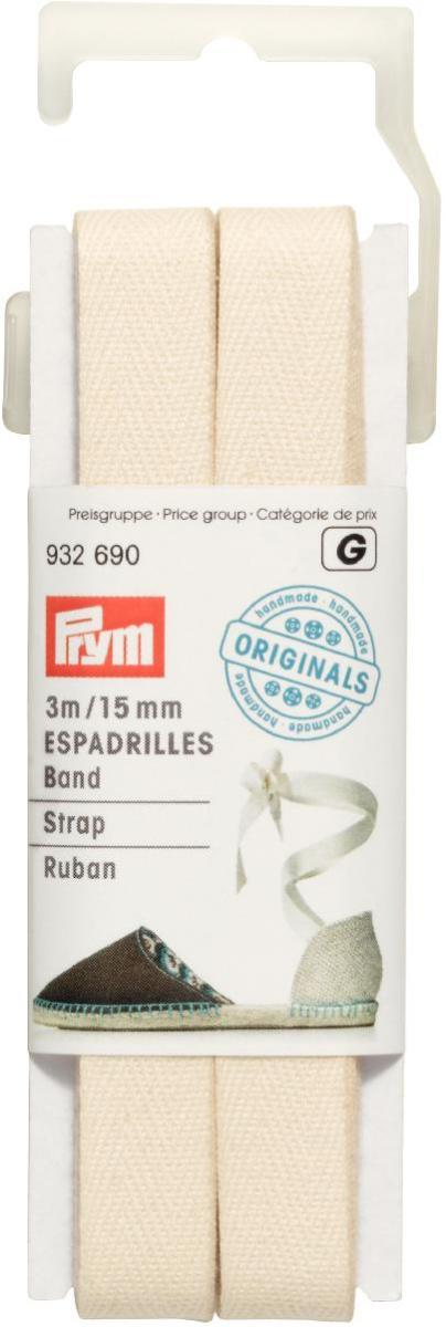 Лента для пришивания детали пятки для эспадрилий Prym, ширина 15 мм, длина 3 м932690Лента Prym, изготовленная из хлопка, предназначена для пришивания детали пятки для эспадрилий.