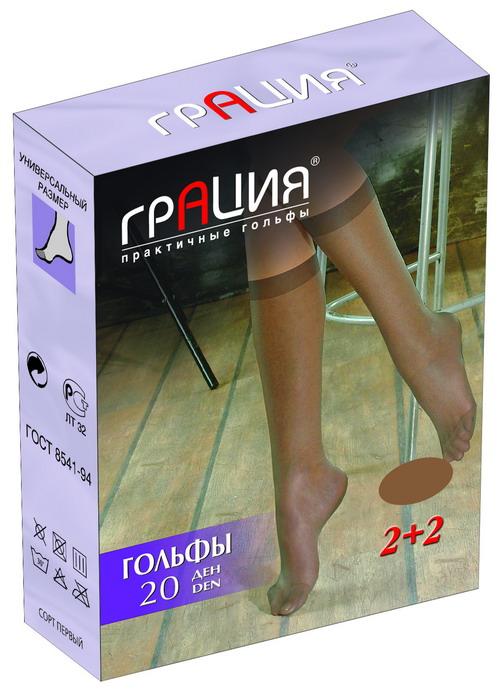 Гольфы женские Грация 40, цвет: телесный, 2 пары. Размер универсальныйГольфы 40Стильные женские гольфы Грация 40, изготовленные из высококачественного эластичного полиамида, идеально подойдут для повседневной носки. Входящий в состав материала полиамид обеспечивает износостойкость, а эластан позволяет гольфам легко тянуться, что делает их комфортными в носке.Шелковистые гольфы легко тянутся. Гладкие и мягкие на ощупь, они имеют укрепленный мысок. Идеальное облегание и комфорт гарантированы при каждом движении. Плотность: 40 den. В комплекте 2 пары.