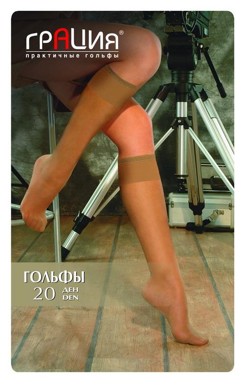 Гольфы Грация 20, цвет: загар. Размер универсальныйГольфы 20 лайкраГольфы повышенной комфортности за счет содержания эластана, мягкие и шелковистые, с широкой резинкой и усиленным мыском. 2 пары в упаковке.