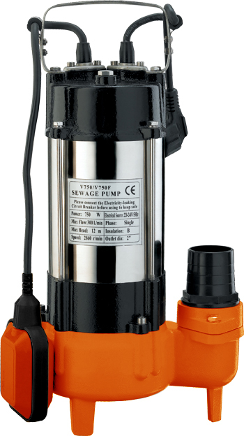 Фекальный насос Вихрь ФН-750 предназначен для откачки  сильнозагрязненных вод, сточных вод и вод, содержащих  волокнистые включения. Используется для откачки воды из  рек, водоемов, осушения подтопленного подвала, погреба,  гаража, работы на автомойке, а также для орошения и подачи  воды.  Агрегат включает насосную часть, герметичный  электродвигатель и поплавковый выключатель.  Электродвигатель состоит из статора с термопротектором,  который защищает двигатель от перегрева при превышении  температуры обмоток выше допустимой нормы. Камера  теплообмена обеспечивает охлаждение насоса.  Металлический корпус гарантирует высокую прочность и  значительно увеличивает срок службы устройства.  Насос оснащен поплавковым выключателем, который  отрегулирован на определенный уровень включения и  отключения насоса. Для исключения образования воздушных  пробок в рабочей полости насоса имеется клапан. Насос не  требует консервации. Во время эксплуатации насос не  требует никакого обслуживания.  Максимальное количество включений: 20 час.  Максимальная высота подъема: 13 м.  Напряжение: 220 В.  Частота: 50 Гц.  Тип электродвигателя: асинхронный, однофазный с  короткозамкнутым ротором.  Максимальная подача: 18 м3/час.  Мощность: 750 Вт.  Диаметр пропускаемых частиц: 42 мм.  Диаметр выходного патрубка: 2 дюйм.  Длина кабеля: 10 м.