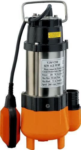 Фекальный насос Вихрь ФН-25068/5/1Фекальный насос Вихрь ФН-250 предназначен для откачкисильнозагрязненных вод, сточных вод и вод, содержащихволокнистые включения. Используется для откачки воды изрек, водоемов, осушения подтопленного подвала, погреба,гаража, работы на автомойке, а также для орошения и подачиводы.Агрегат состоит из насосной части, электродвигателя ипоплавкового включателя. Электродвигатель расположенвнутри герметичного корпуса. В состав электродвигателявходит статор, состоящий из двух обмоток стермопротектором. Он обеспечивает отключение приборапри повышении температуры обмоток свыше допустимойнормы. Камера теплообмена обеспечивает охлаждениенасоса.Насос оснащен поплавковым выключателем, которыйотрегулирован на определенный уровень включения иотключения насоса. Для исключения образования воздушныхпробок в рабочей полости насоса имеется клапан. Во времяэксплуатации насос не требует никакого обслуживания. Максимальное количество включений: 20 час.Максимальная высота подъема:7,5 м.Напряжение: 220 В.Частота: 50 Гц.Тип электродвигателя: асинхронный, однофазный скороткозамкнутым ротором.Максимальная подача: 9 м3/час.Мощность: 250 Вт.Диаметр пропускаемых частиц: 27 мм.Диаметр выходного патрубка: 1,25 дюйм.