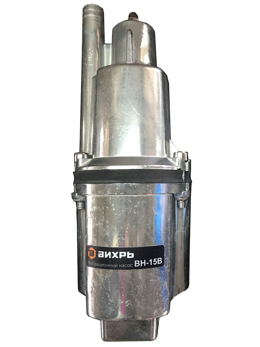 Вибрационный насос с верхним забором воды Вихрь ВН-15В предназначен для перекачивания воды из водоемов, колодцев и резервуаров диаметром более 110 мм. Имеет электрический двигатель мощностью 280 Вт, который обеспечивает напор до 72 метров и производительность до 18 л/мин. Составные части надежно стянуты болтами. Максимальная глубина погружения равна 3 метра. Можно использовать как в вертикальном, так и в горизонтальном положении. Благодаря отверстию для троса удобно погружать или поднимать вибрационный насос. Максимальная высота подъема воды: 72 м.  Минимальное расстояние от дна колодца до насоса: 1 м.  Напряжение питания: 220/50 В/Гц.  Степень защиты: IPX8.  Полезная мощность: 280 Вт.  Максимальная производительность: 18 л/мин.  Максимальная температура воды: +35°С.  Диаметр насоса: 100 мм.  Длина кабеля: 15 м.  Диаметр выходного отверстия: 3/4 дюйма.