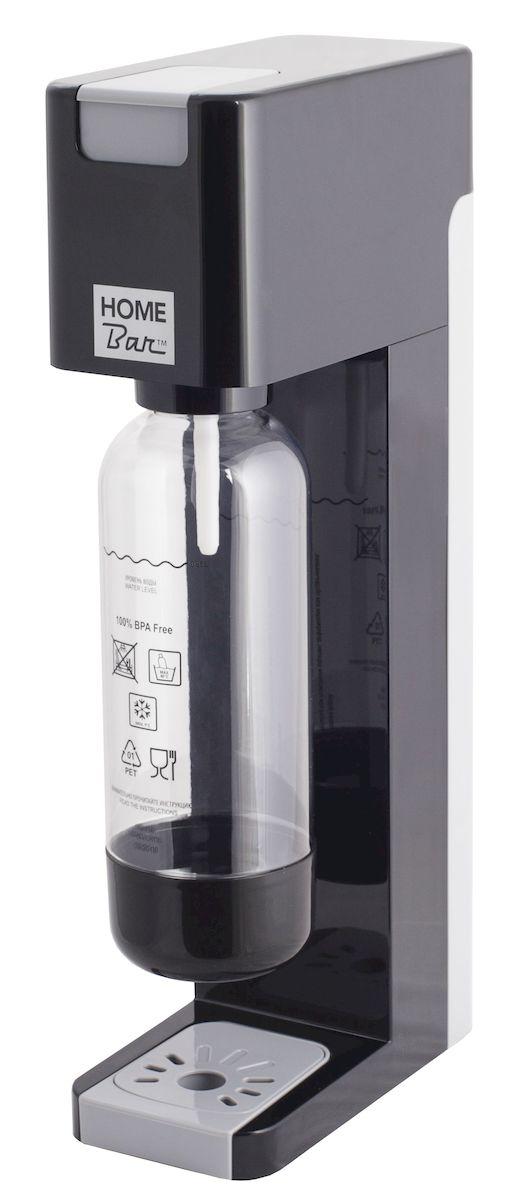 Сифон Home Bar Smart 110 NG, без баллона, цвет: черный, серыйSmart110NG blackСифон для газирования воды Home Bar Smart 110 NG имеет классический дизайн, четкие линии, а также компактные размеры, что позволит ему найти достойное место на любой кухне. Это усовершенствованная модель с автоматическим сбросом давления. Сифон предназначен для газирования чистой охлажденной воды. Рекомендуемая температура воды 5°С. Чтобы приготовить газированный напиток или коктейль, добавьте в газированную воду сироп (продаются отдельно). Особенности: - Автоматический сброс давления.- 3 уровня газирования воды (слабый, средний, сильный). - Не требует электроэнергии.- Совместим с баллонами SODASTREAM.- Вкручивающийся разъем для установки баллона.- Состав бутылки не содержит бисфенол A.- Съемный поддон для капель.Для использования сифона требуется баллон 425 г на 60 литров воды. Приобретается отдельно. Баллон многоразовый, пустой баллон можно заправить углекислым газом. Готовьте свои любимые напитки дома, ведь с Smart 110 NG теперь это так просто, быстро и удобно. Высота бутылки (с крышкой): 28 см. Объем бутылки: 1 л. Размер сифона: 20 х 10 х 44 см.