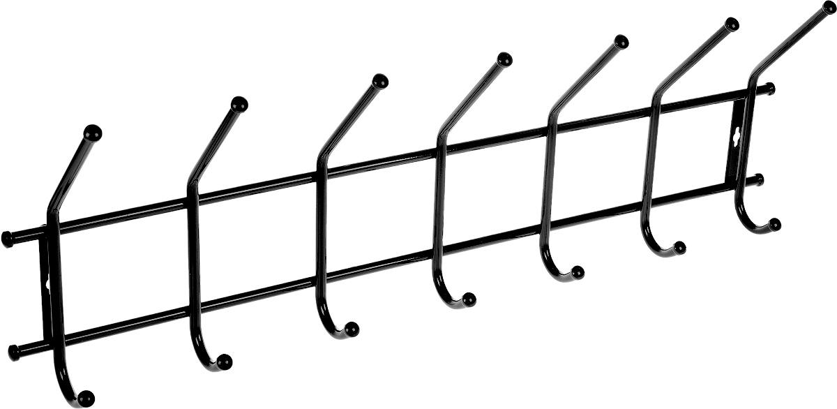 Вешалка ЗМИ Практика 7, цвет: черный, 80 х 27 х 13 смВН 68_черныйМеталлическая вешалка с полимерным покрытием ЗМИ Практика 7 имеет семь парных крючков для одежды. Крепится к стене при помощи двух шурупов (не входят в комплект).Вешалка ЗМИ Практика 7 идеально подходит для маленьких прихожих и ограниченных пространств. На нее удобно вешать одежду, сумки и шарфы. Размер вешалки: 80 см х 27 см х 13 см.