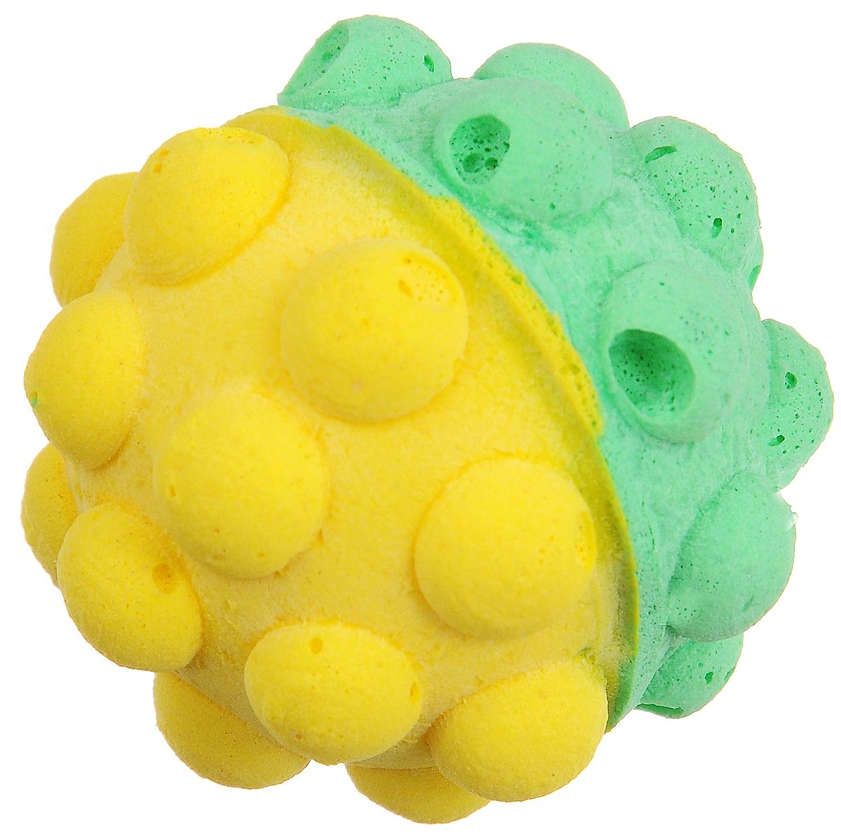 Игрушка для животных Каскад Мячик зефирный. Мина, цвет: зеленый, желтый, диаметр 4,5 см блендер galaxy gl2153