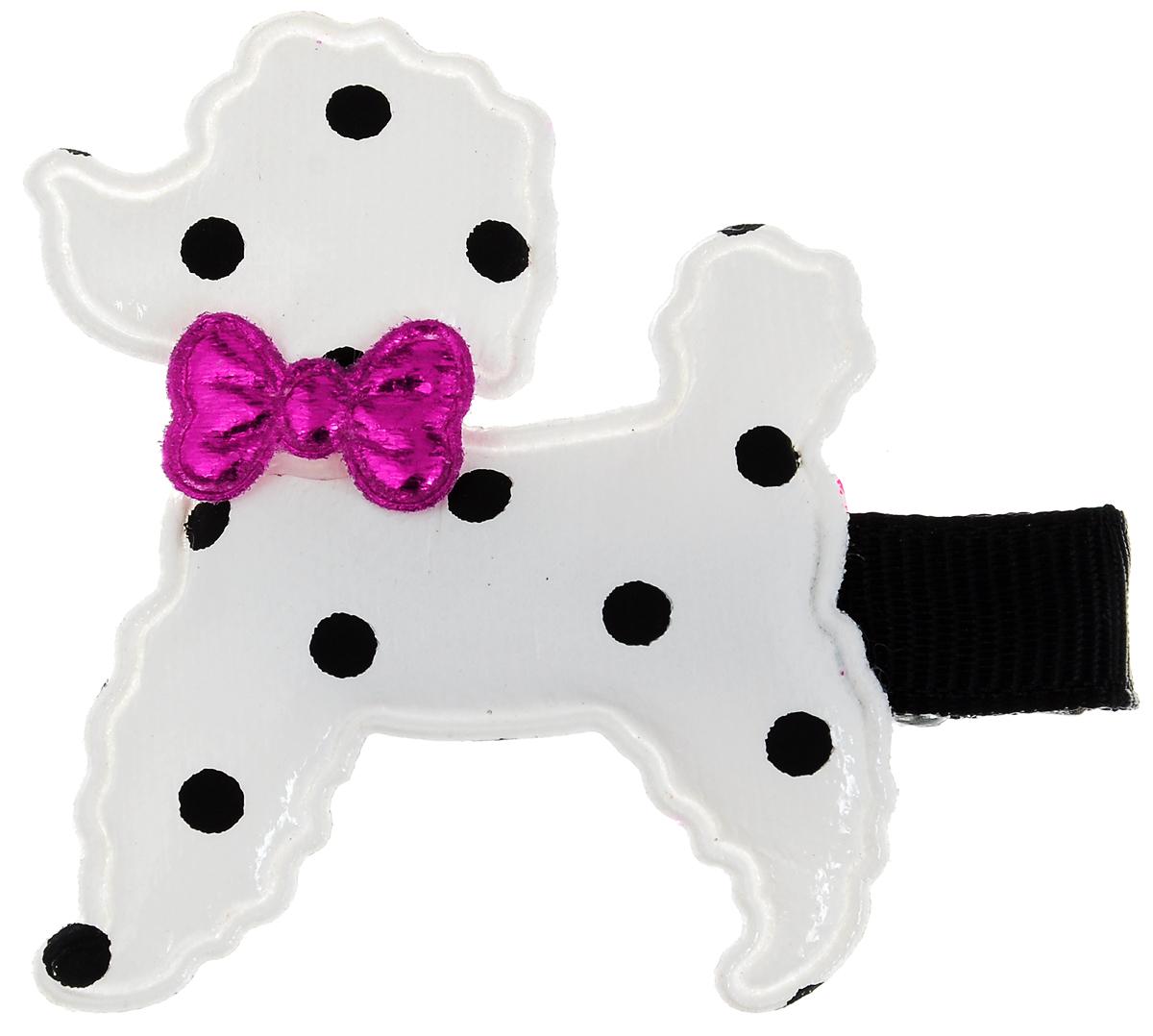 Заколка для животных Каскад Собака, цвет: белый, черный, фуксия, 4 х 5 см игрушка для животных каскад барабан с колокольчиком 4 х 4 х 4 см