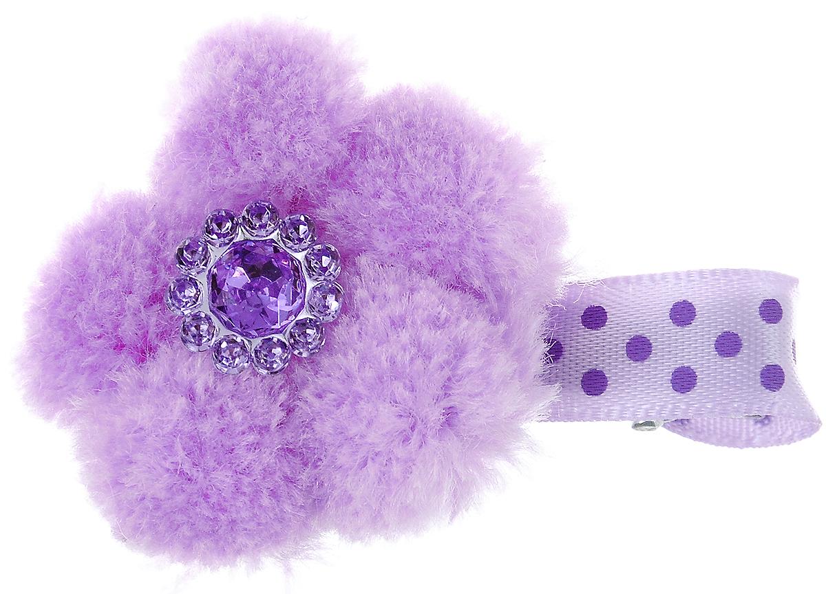 Заколка для животных Каскад Меховой цветок, цвет: сиреневый, фиолетовый, 4 х 3 см зажимы bizon заколка