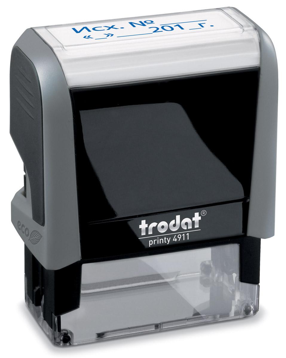 Trodat Штамп текстовый Исх. № с датой15514Текстовый штамп Trodat будет незаменим в отделе кадров или в бухгалтерии любой компании.Прочный пластиковый корпус гарантирует долговечное бесперебойное использование. Модель отличается высочайшим удобством в использовании и оптимально ложится в руку. Оттиск проставляется практически бесшумно легким нажатием руки. Улучшенная конструкция и видимая площадь печати гарантируют качество и точность оттиска.Текст оттиска - Исх. №, дата.Цвет оттиска - синий, размер оттиска - 38 мм х 14 мм.