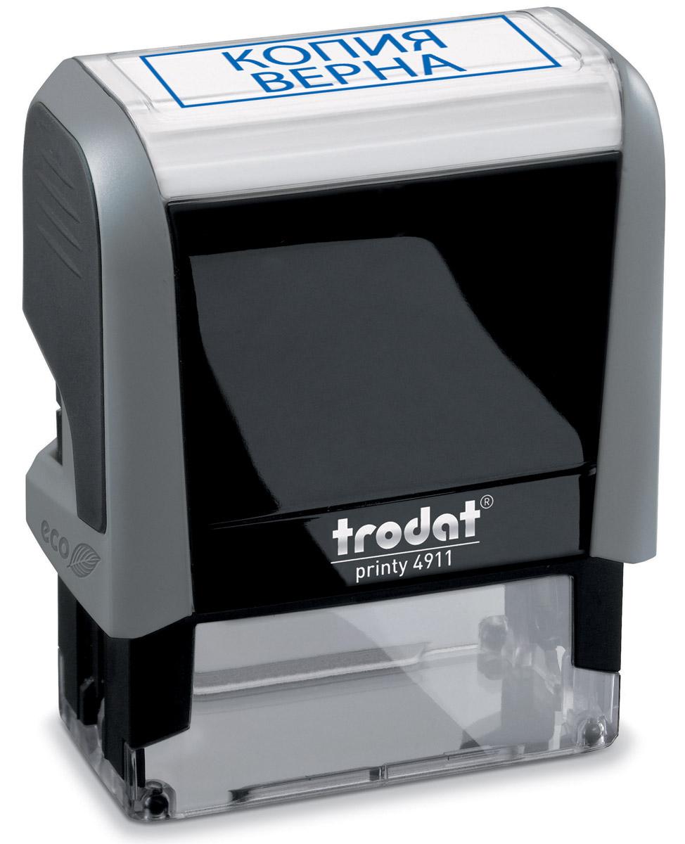 Trodat Штамп текстовый Копия вернаGRM40Текстовый штамп Trodat будет незаменим в отделе кадров или в бухгалтерии любой компании.Прочный пластиковый корпус гарантирует долговечное бесперебойное использование. Модель отличается высочайшим удобством в использовании и оптимально ложится в руку. Оттиск проставляется практически бесшумно легким нажатием руки. Улучшенная конструкция и видимая площадь печати гарантируют качество и точность оттиска.Текст оттиска - КОПИЯ ВЕРНА.Цвет оттиска - синий, размер оттиска - 38 мм х 14 мм.