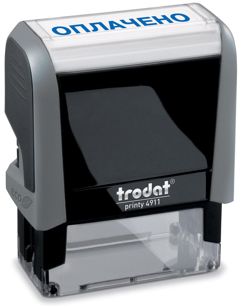Trodat Штамп текстовый Оплачено4911/ОТекстовый штамп Trodat будет незаменим в отделе кадров или в бухгалтерии любой компании.Прочный пластиковый корпус гарантирует долговечное бесперебойное использование. Модель отличается высочайшим удобством в использовании и оптимально ложится в руку. Оттиск проставляется практически бесшумно легким нажатием руки. Улучшенная конструкция и видимая площадь печати гарантируют качество и точность оттиска.Текст оттиска - ОПЛАЧЕНО.Цвет оттиска - синий, размер оттиска - 38 мм х 14 мм.